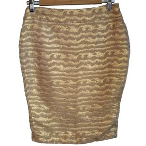 3/30$ J CREW Collection Abstract Gold Pencil Skirt